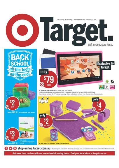 Target School Catalogue January 2014 Electronics and Clothes